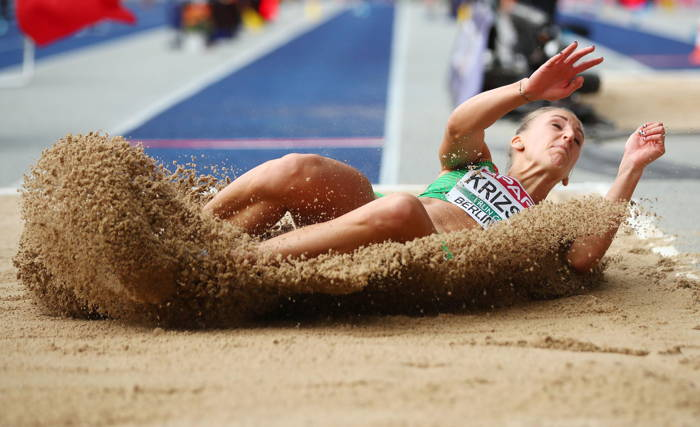 Xenia Krizsan of Hungary in action, during the 2018 European Championships Women's Heptathlon Long Jump at Olympic Stadium, Berlin, Germany, Reuters/UNI