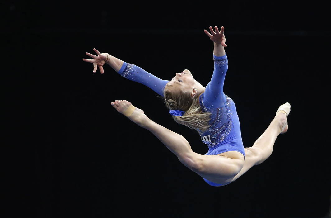 Riley McCusker competes in the floor exercise during the US Gymnastics Championships at TD Garden, Boston, Winslow Townson/USA TODAY Sports/Reuters/UNI