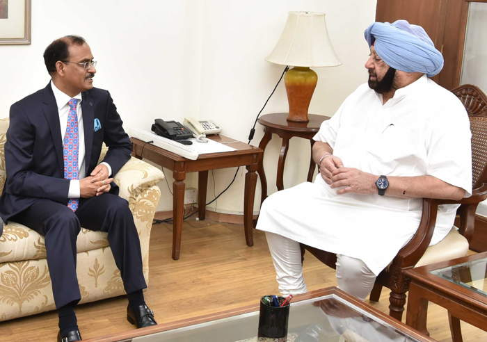 Rana Ashutosh Kumar Singh, Chief General Manager, State Bank of India, calls on Punjab Chief Minister Capt Amarinder Singh in Chandigarh, UNI