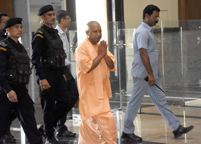 Uttar Pradesh Chief Minister Yogi Adityanath on arrival at a cabinet meeting at Lok Bhawan in Lucknow, UNI