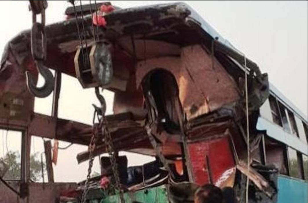Eight people killed and 22 injured as bus rams into truck on Yamuna Express way