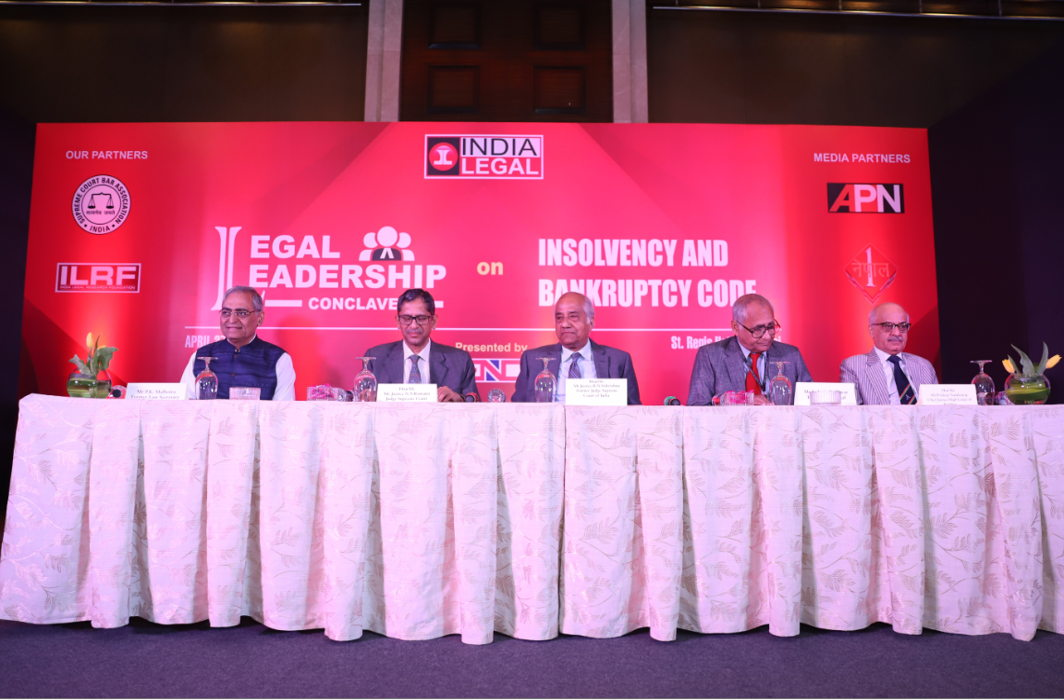 (L to R) Former law secretary P K Malhotra, Supreme Court judge Justice N V Ramana, Former Supreme Court judge Justice B N Krishna, Editor of India Legal, Inderjit Badhwar and Chief Justice of Bombay High Court Justice Pradeep Mandar in the Legal Leadership Conclave /Photo: Anil Shakya