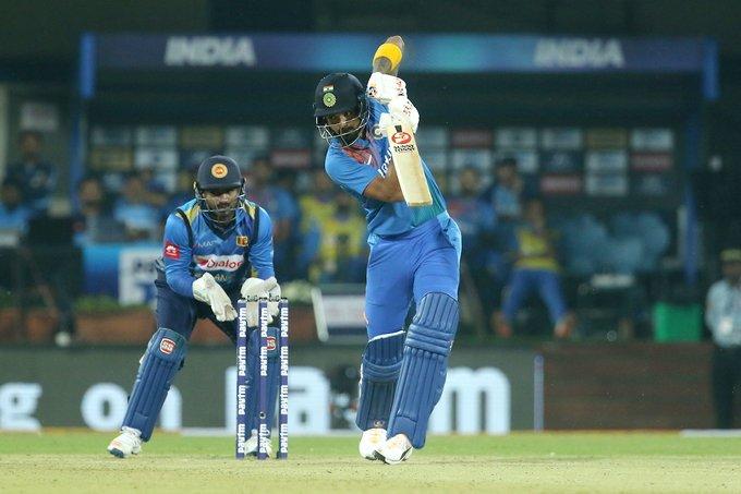 KL Rahul plays a shot against Sri Lanka. (Twitter/ @BCCI)