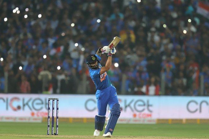 Virat Kohli plays a shot against Sri Lanka.