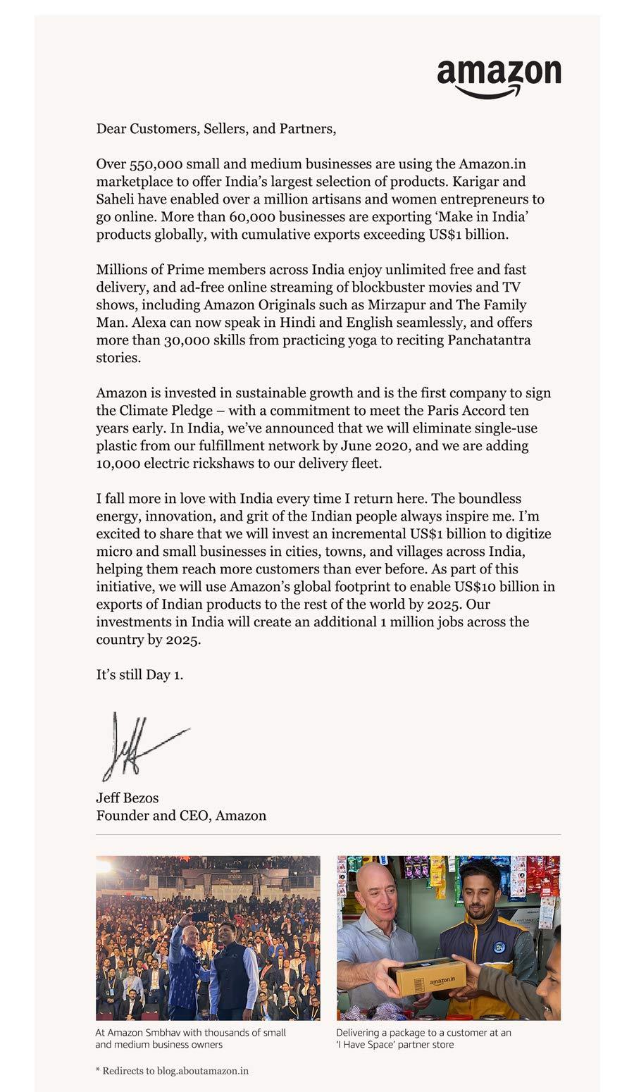 Jeff Bezos'letter