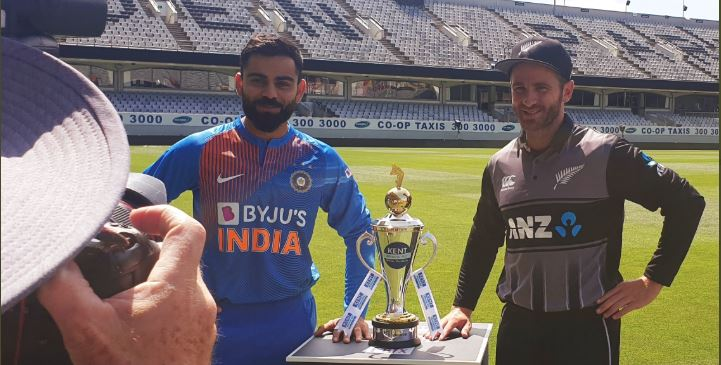 Indian skipper Virat Kohli and New Zealand captain Kane Williamson. (Photo | Twitter/@BCCI)