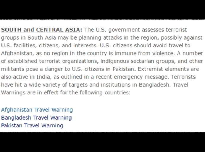 India gets a mention in US Travel Advisory