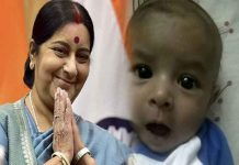 Sushma again shows generosity, Sick Pakistani baby can come in india For treatment
