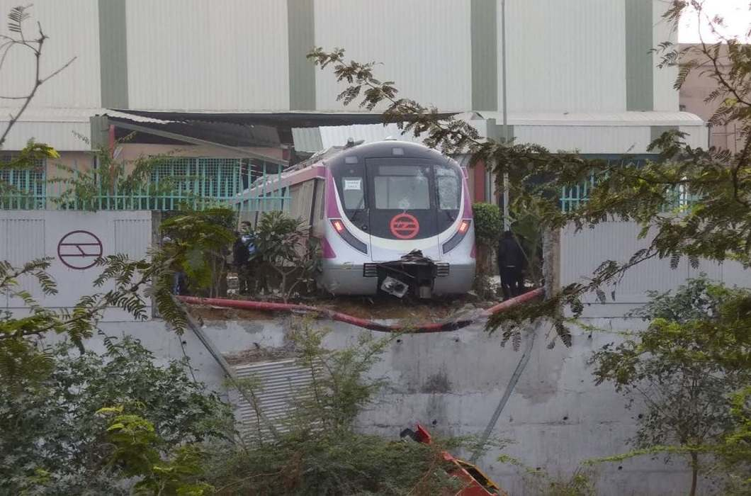 Delhi Metro Broke the wall During the trial and DMRC admitted mistake