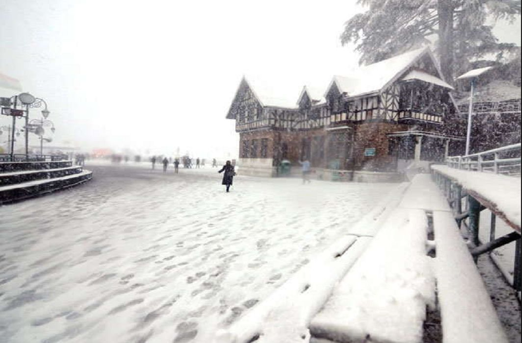 Snowfall on hill areas,