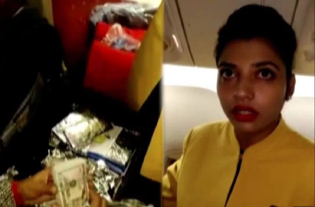 DRI team has arrested air hostess with crores rupees of hawala