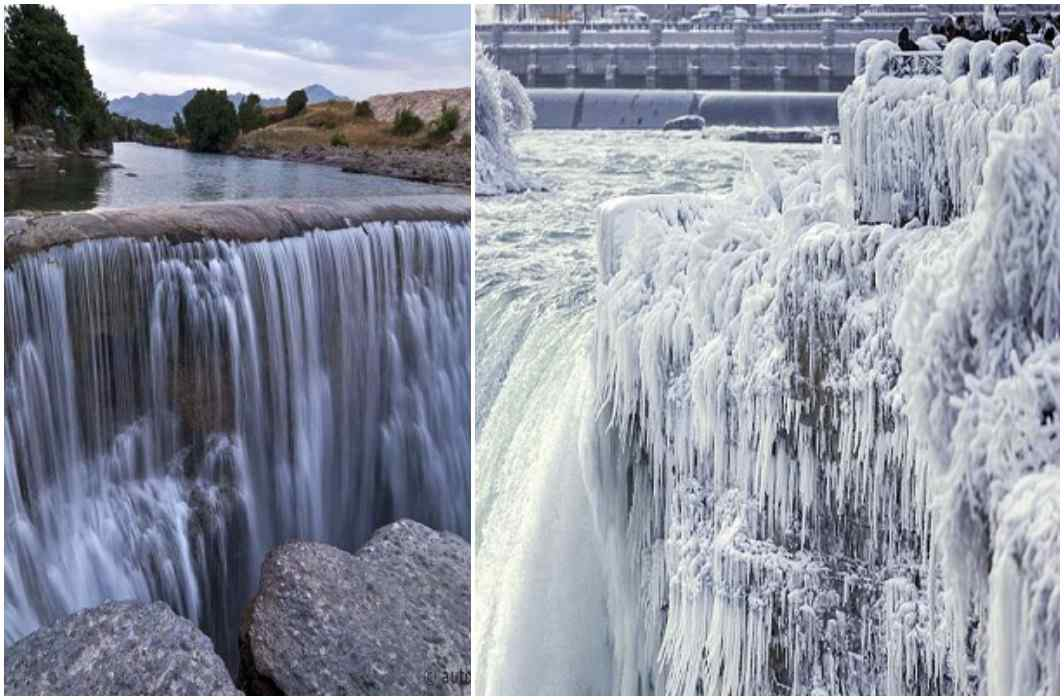 The world's tallest waterfall also vibrates from cold, transformed into snow, see photos