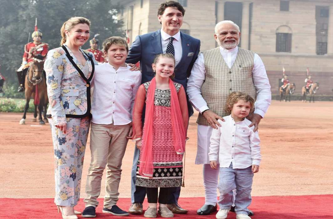 Canadian PM Justin Trudo's welcome at Rashtrapati Bhawan