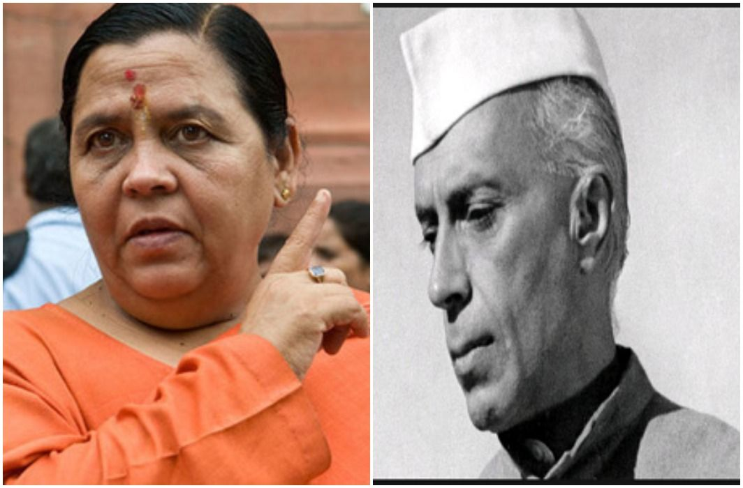 Uma's statement, after Independence Nehru had sought help from RSS during Pakistan's attack