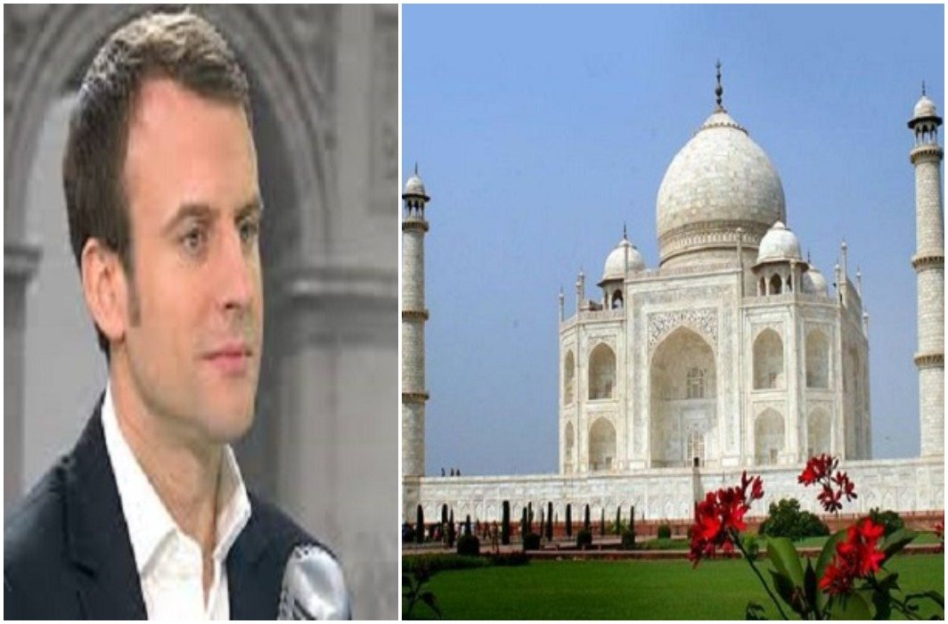 President of France with his wife Will see today World's seventh wonder 'Taj'