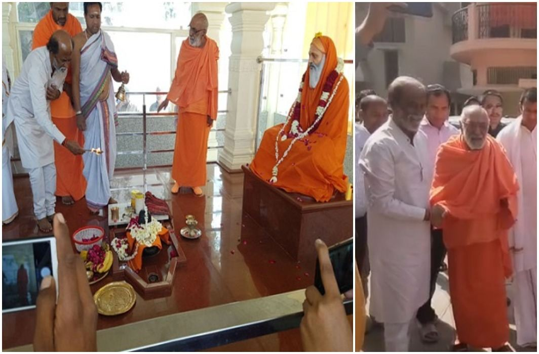 Rajinikanth arrived to meditate in the Himalayas ... Guru Swami Dayanand Saraswati Maharaj's Aarti