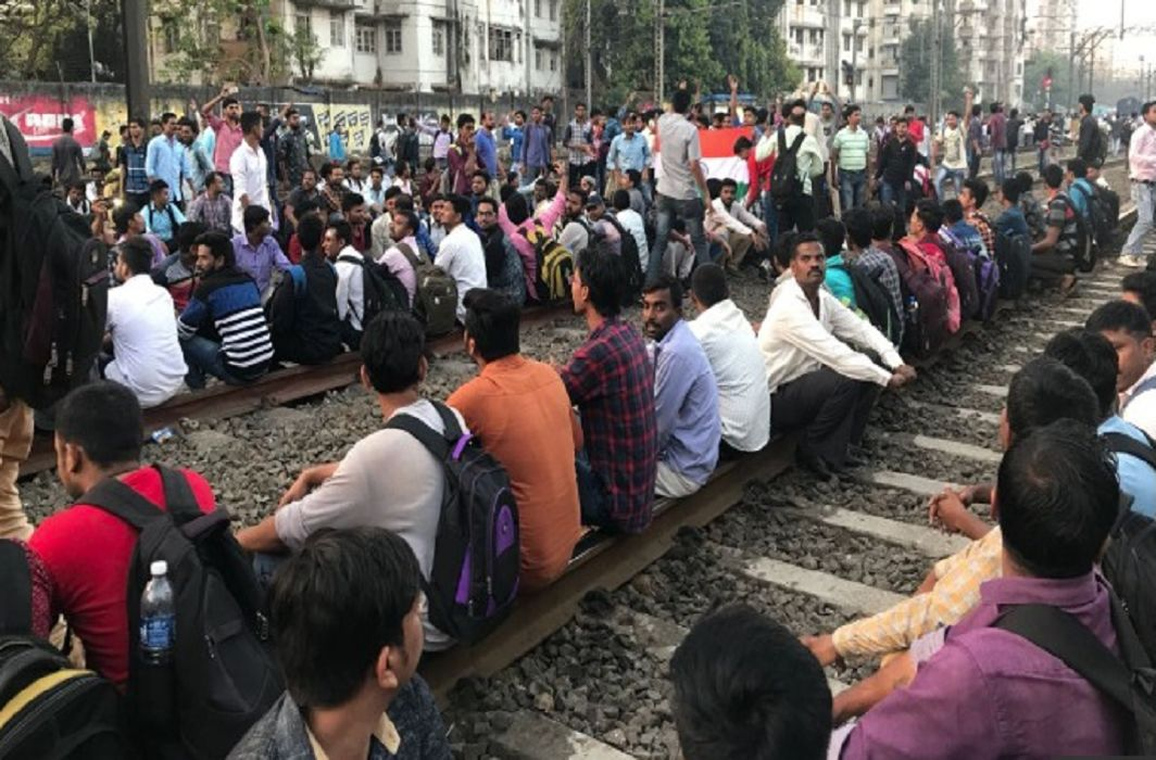 Student on railway track for job in railway
