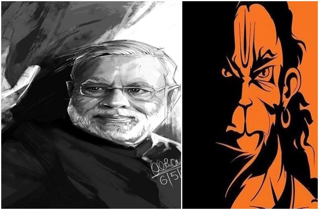 Artist karan acharya made pm narendra modi tremendous picture after Hanuman