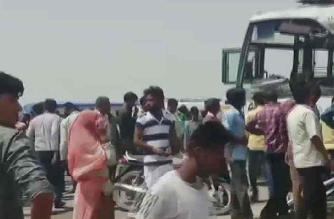 A collision between bus, dump truck claims 12 killed and 24 injured