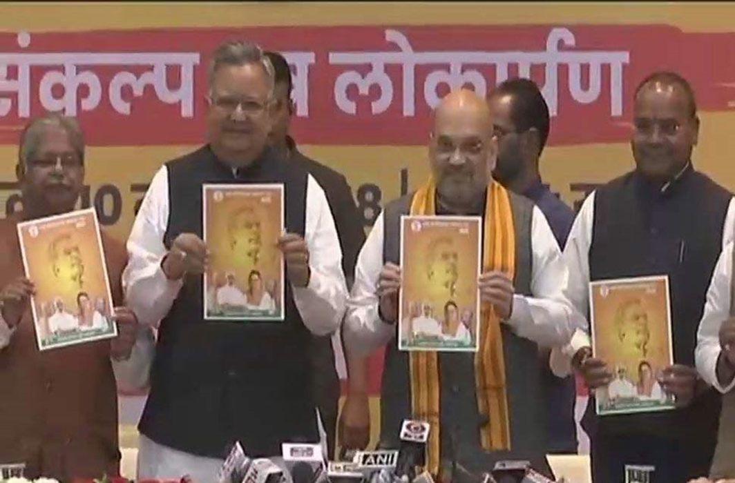 BJP releases manifesto atal sankalp patra for chhattisgarh
