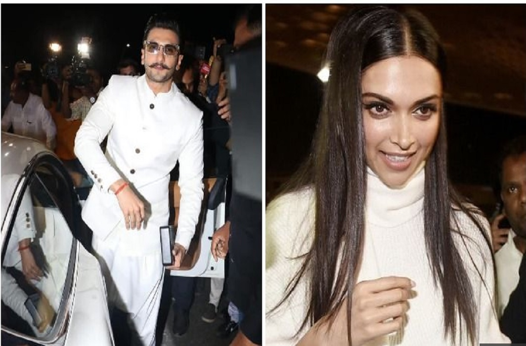 Ranveer singh and Deepika padukone depart for Italy