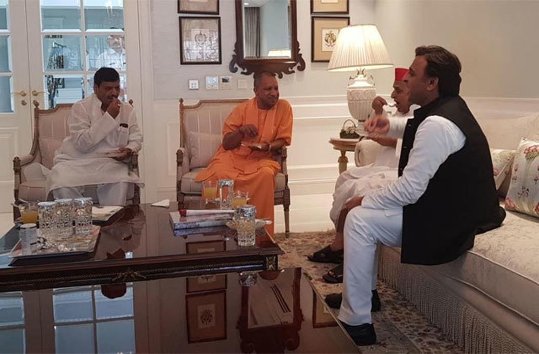 Yogi Adityanath with Mulayam Singh