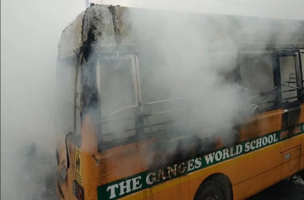 Fire In School Bus At Kanpur