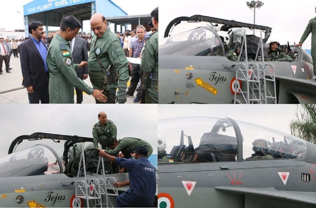 Rajnath Singh flies in tejas aircraft