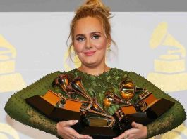"WOMAN OF THE MOMENT: Adele holds the five Grammys she won including Record of the Year for ""Hello"" and Album of the Year for ""25"" during the 59th Annual Grammy Awards in Los Angeles, California, February 12, Reuters/UNI"