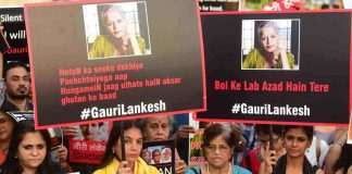 SISTERS-IN-ARMS: Social activists in Mumbai protest Lankesh's death, UNI