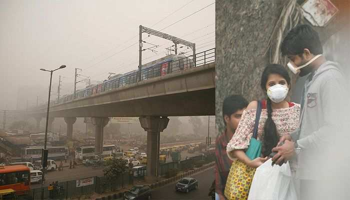 (L-R) A metro train zooms past smog in New Delhi; A couple wearing mask to avoid dangers of smog. Photo: Anil Shakya
