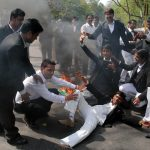 Lawyers protesting in Allahabad in the wake of killing of a lawyer by a policeman. Photo: UNI