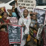 Victims of the Bhopal gas tragedy take part in a protest during the 30th anniversary of the tragedy. Photo: UNI