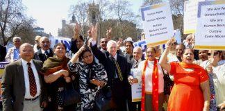 Indian Diaspora protesting in UK against the caste-discrimination.