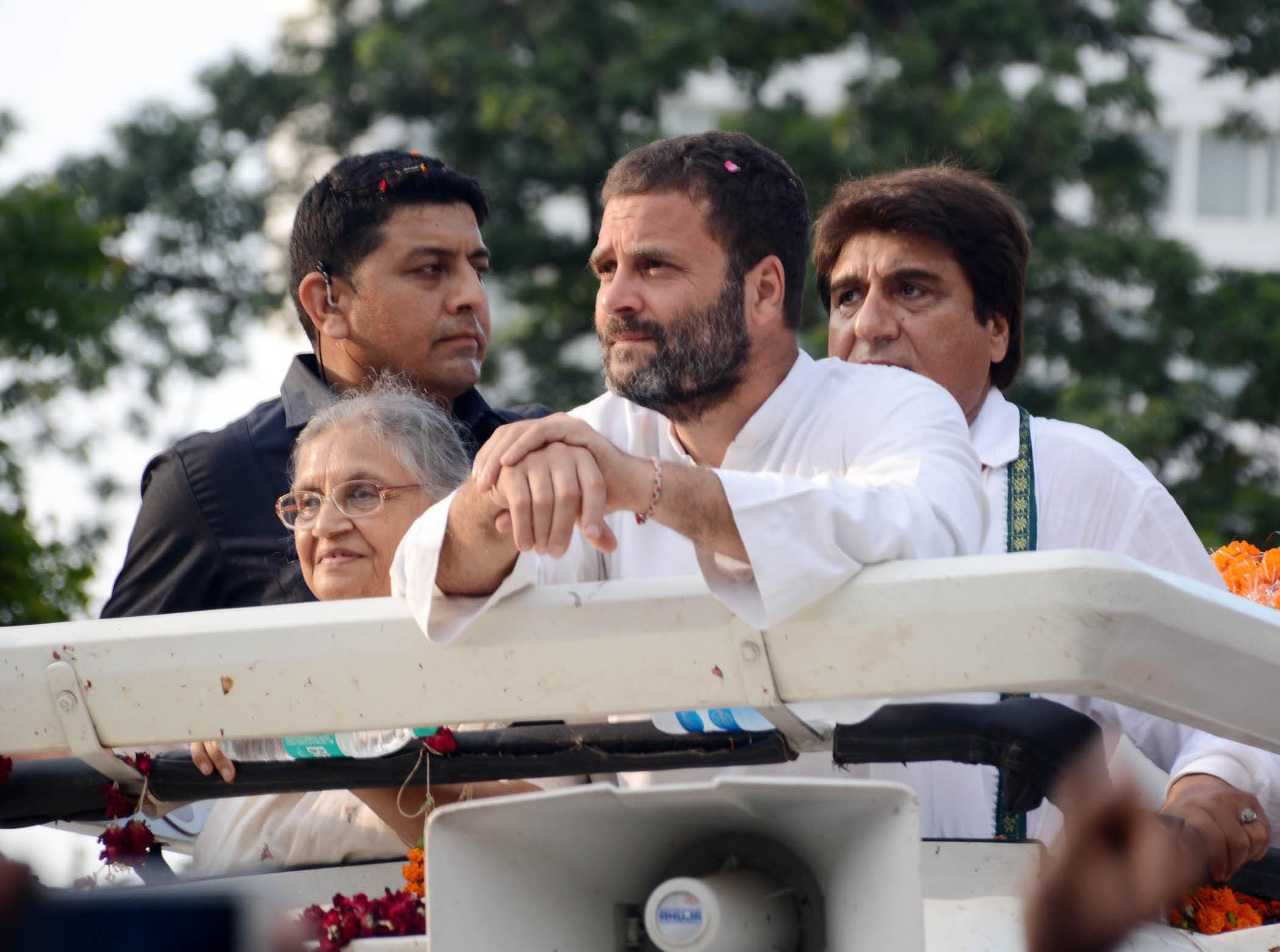 Congress vice-president Rahul Gandhi, Sheila Dixit and Raj Babbar in Lucknow. Photo: UNI
