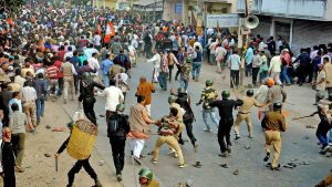A scene from the Kaliachak riots that shook Malda on January 3.