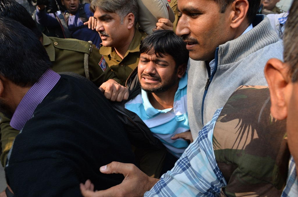 JNU student union leader Kanhaiya Kumar, accused of sedition, was attacked by lawyers on the Patiala House premises in Delhi in February 2016. Photo: UNI