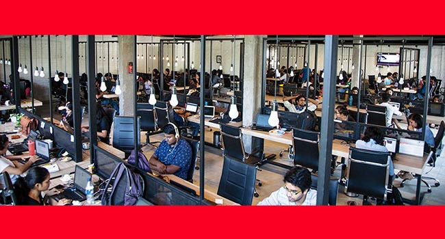 ScoopWhoop employees work in their expansive office in a farmhouse in south Delhi's Vasant Kunj neighborhood