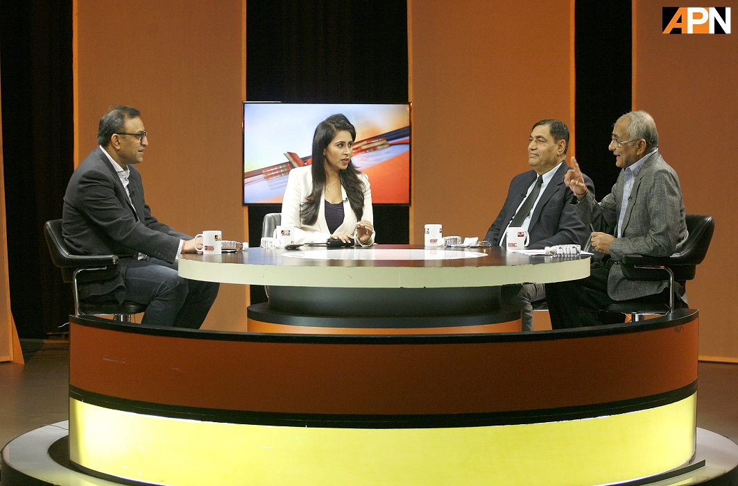 Panelists discussing problems of backlog of cases and vacancies of judges on India Legal Show