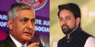 (L-R) Chief Justice of India TS Thakur and Anurag Thakur. Photo: UNI