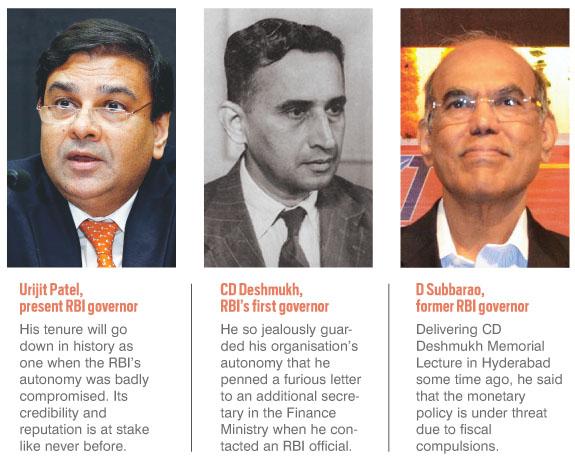 (L-R) Urijit Patel, present RBI governor CD Deshmukh, RBI's first governor, D Subbarao, former RBI governor