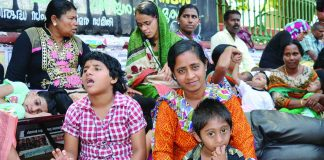 Parents of children suffering from the after-effects of Endosulfan poisoning stage a dharna in front of the Secretariat in Thiruvananthapuram. Photo: UNI