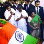 Prime Minister Narendra Modi paying tributes to the mortal remains of J Jayalalithaa, in Chennai. Photo: UNI