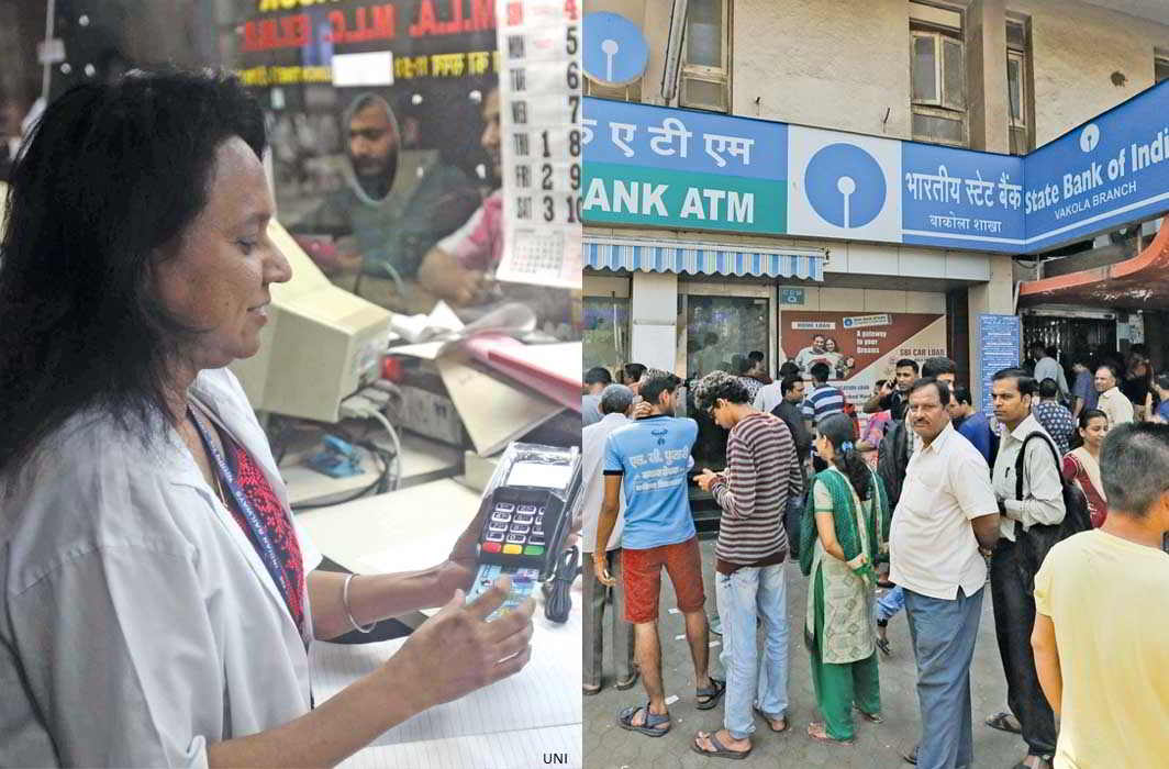 People spending hours waiting to access their own bank accounts, post-demonetisation. Digitalizing the nation seems like a cruel joke