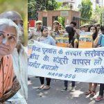 (L-R) Activist Medha Patkar (Photo: Anil Shakya); NBA activists staging a dharna in New Delhi (photo: UNI)