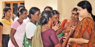 AIADMK General Secretary Sasikala consoling party workers after Jayalalithaa's demise. Photo: UNI