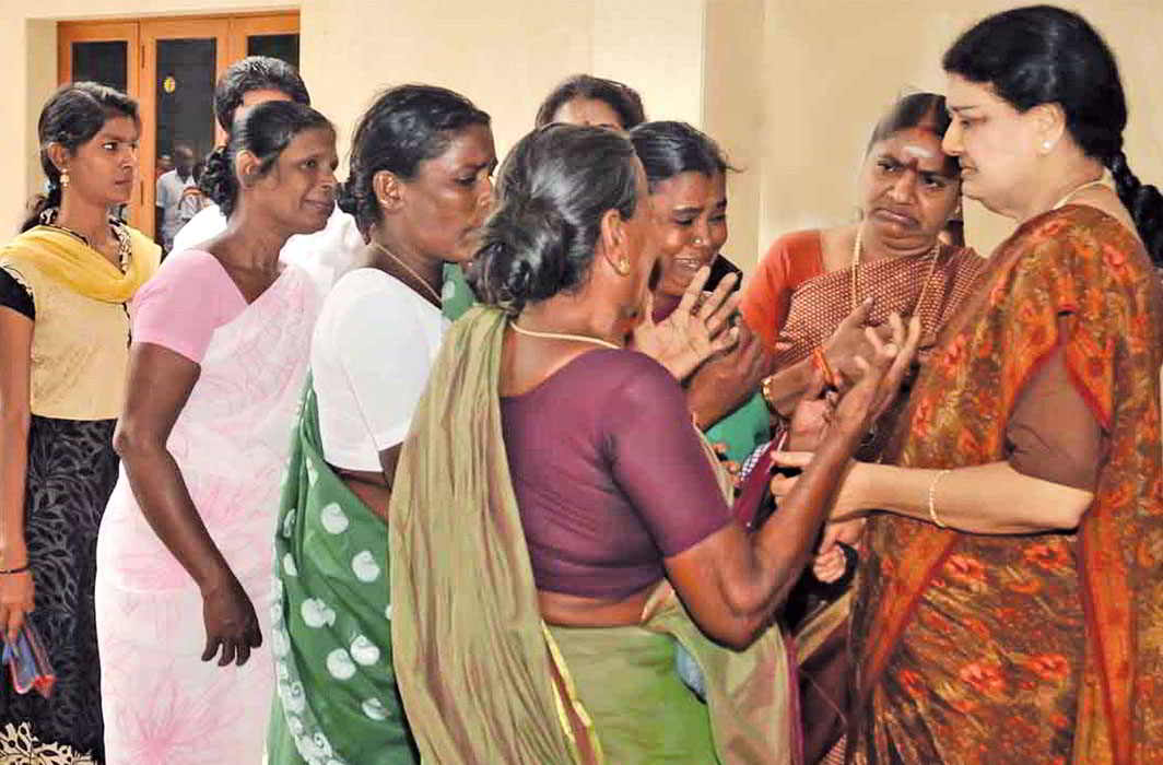 AIADMK General Secretary Sasikala consoling party workers after Jayalalithaa's demise. Photo: UNI