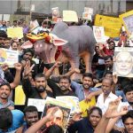 Students and youth staging a demonstration at Marina Beach, Chennai, demanding lifting of the ban on Jallikattu. Photo: UNI