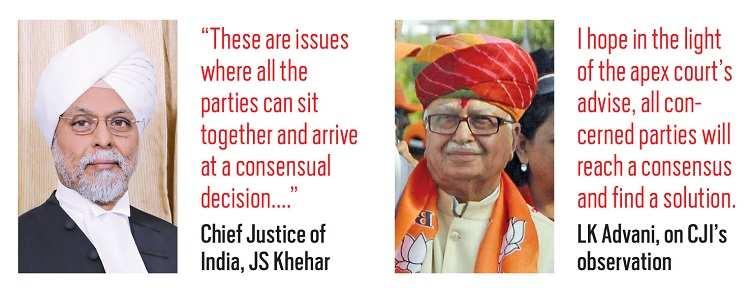 (L-R) Chief justice of India, JS Khehar; LK Advani, on CJI's observation