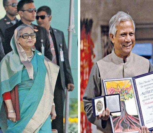 Bangladesh PM Sheikh Hasina's (left) animosity against Muhammad Yunus dates back to 2007. Photo Sheikh Hasina: UNI; Photo Muhammad Yunus: nobelprize.org